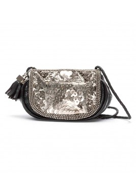 Sequin and leather bag