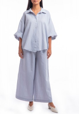 Blue Shirt & Wide Legged Pants Set