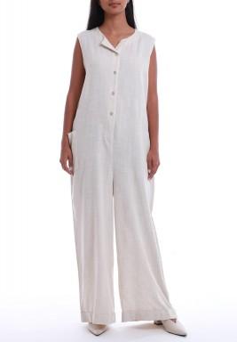 White Sleeveless Wide Legged Jumpsuit