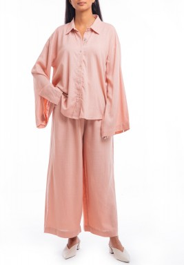 Pink Shirt & Wide Legged Pants Set