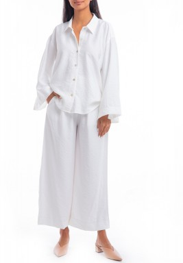 White Shirt & Wide Legged Pants Set