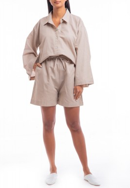 Beige Oversized Short Set