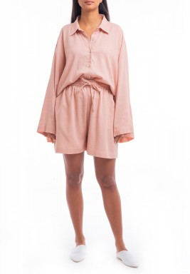 Pink Oversized Shirt & Short Set
