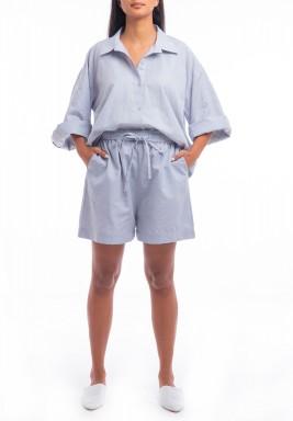 Blue Oversized Shirt & Short Set