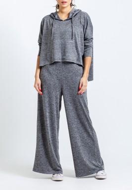 Grey Hooded Wide-Legged Set