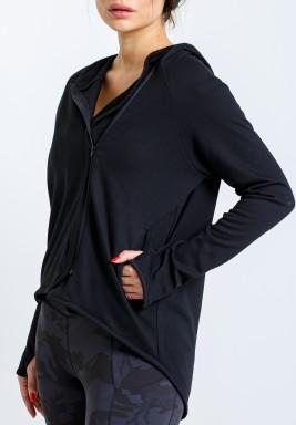 Black Hooded Zip Front Jacket