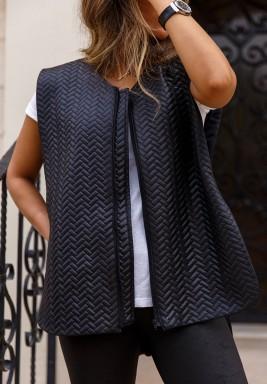 Black Leather Open Sides Vest