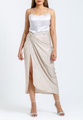 Beige Sequin Skirt & Silk Top