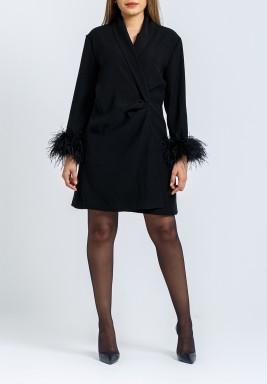 Black Feather Blazer Dress
