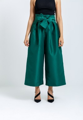 Green Bow Wide-Legged Pants