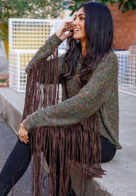Olive Long Fringes Sleeves Sweater