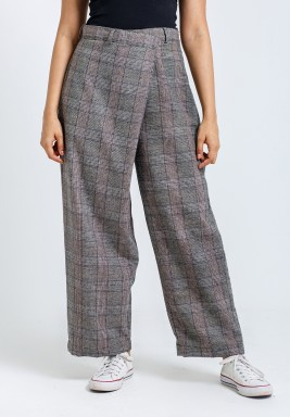 Brown Overlap Checked Pants