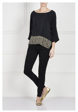 Black & Leopard Silk Top