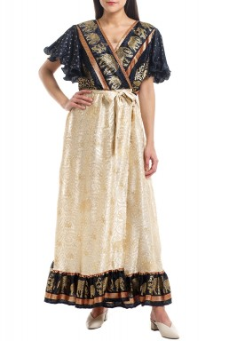 Gold & Black Silk Warp Kaftan