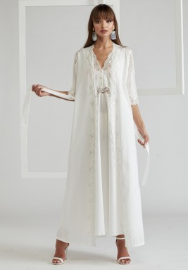 Off-White Trimmed Cotton Vual Robe Set