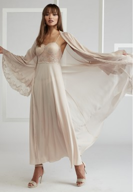 Beige Trimmed Silk Chiffon Robe Set
