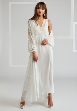 Off White Big Rose Trimmed Silk Chiffon Robe Set