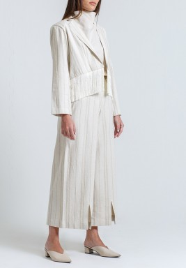 Beige Striped Tasseled Suit