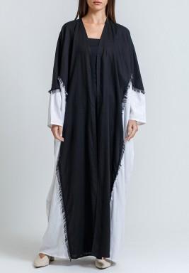 Black & White Tasseled Linen Abaya with scarf