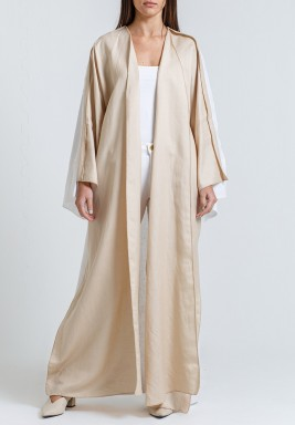 Beige & White Wide Sleeves Abaya with scarf