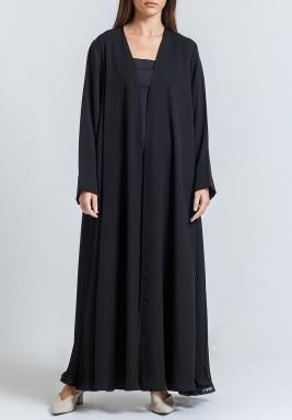Black Chiffon Sides Maxi Abaya with scarf