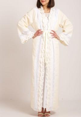 Ruffled robe maternity set