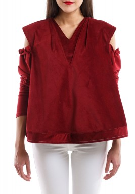 Cold- Shoulder Blouse red