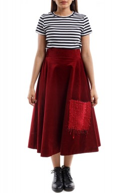 Ribbed Skirt red