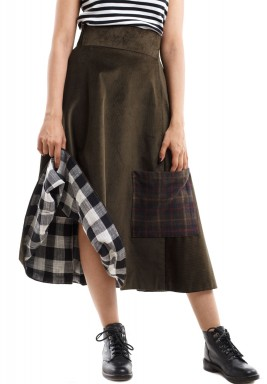 Ribbed Skirt army green