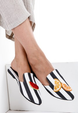Black & White Tropical Fruit Pattern Mules
