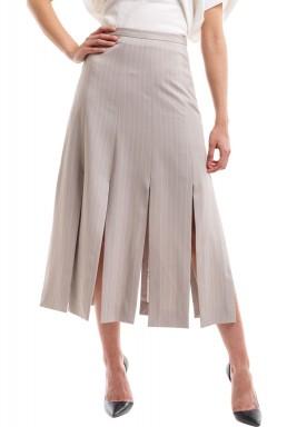 Beige Striped Chopped Skirt