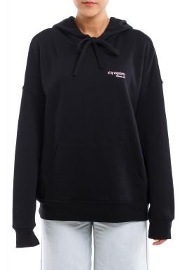 Black Long Sleeves Printed Hoodie