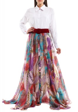 Sarika White & Purple Floral Dress