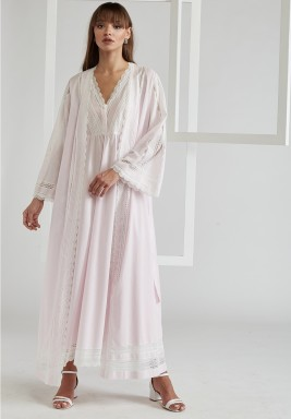 Voile Light Pink  Cotton Robe Set