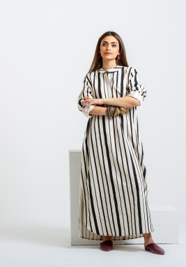Beige & Black Striped Kaftan
