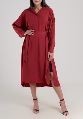 Maroon Pleated Shirt Dress