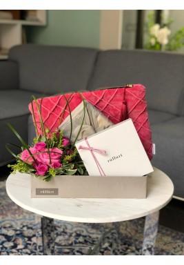 Velvet pouch set pink