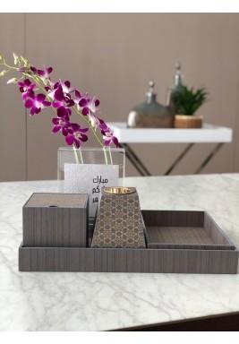 Grey Wooden Tray & Mubkhar Set