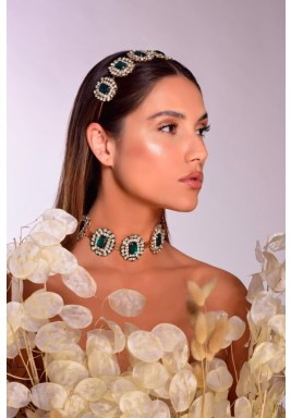 Gaia Rose Gold & Green Choker With Head Piece