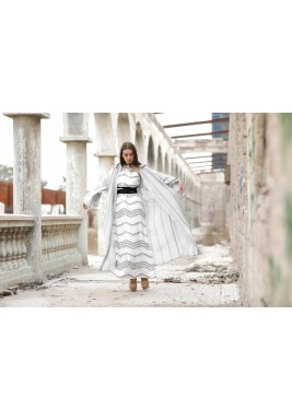Malika Printed Dress With Striped Bisht Set