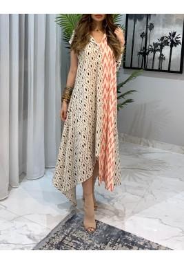 Beige Half & Half Printed Dress