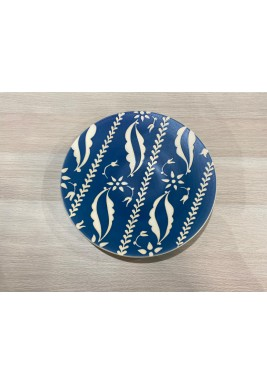 Blue Embellished Round Serving Plate