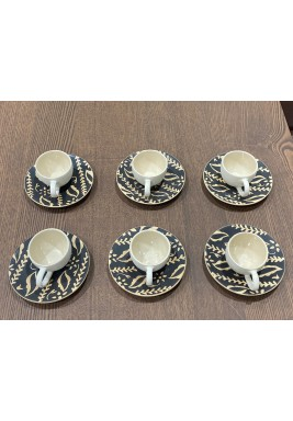Brown Set of 6 Turkish Coffee Cups