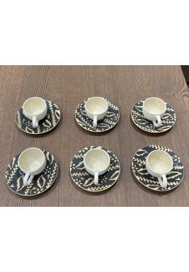 Brown Set of 6 Turkish Coffee Cups