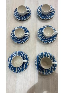 Blue Set Of 6 Turkish Coffee Cups
