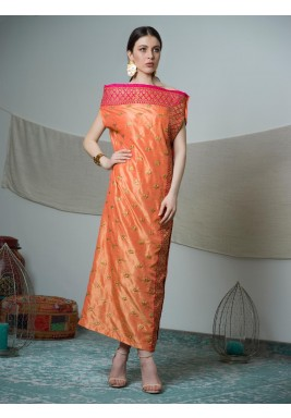 Orange & Pink Fully Embroidered Silk Dress