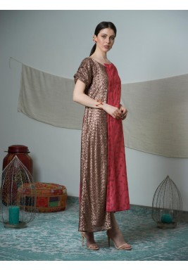 Pink & Bronze Sequined Dress