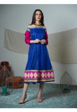Blue & Pink Embroidered Off-Shoulders Sari