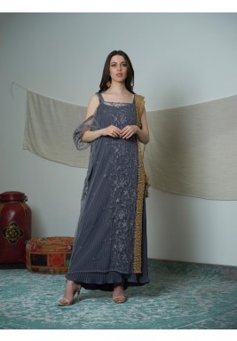 Grey Embroidered Side Pearls Sari
