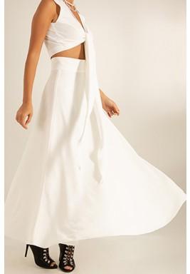 White Flowy Crepe Maxi Skirt